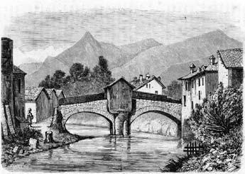 Bussoleno, ponte sulla Dora. Incisione in legno realizzata da Giuseppe Barberis (sec. XIX).