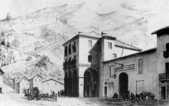 Suse, passage du Montcenis. Grand Hotel de France, disegno di Anonimo (sec. XIX).