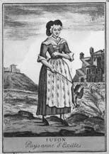 Contadina di Exilles. Incisione di A.M. Stagnon (sec. XIX).
