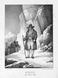 Guida del Moncenisio. Litografia di Chabert su disegno di C. Lemercier (sec. XIX).