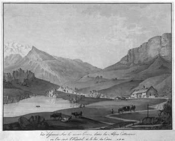 Veduta del Moncenisio. Incisione in rame di Anonimo su disegno di J. F. Albanis-Beaumont (1787).
