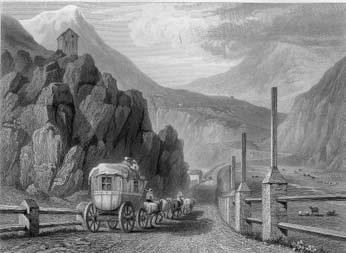Una diligenza sale al Moncenisio. Incisione di J. Redaway su disegno di W. Brochedon (sec. XIX).