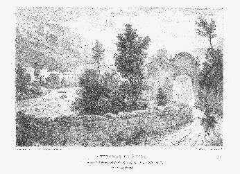 Entrata di Susa. Litografia di C.J. Hullmandel su disegno di M.J. Pattison Cockburn (sec. XIX).