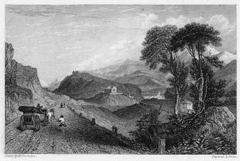 Discesa verso Susa dal Moncenisio. Incisione di Finden su disegno di W.Brockedon (sec. XIX).
