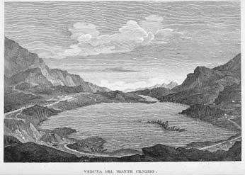 Veduta del Moncenisio, incisione di L. Devegni (sec. XIX).