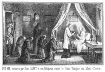 Papa Pio VII riceve il Santo Viatico da Dom Gabet e, a destra, Dom Gabet rifiuta le offerte di Napoleone. Litografie (sec. XIX).