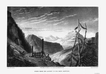 Monginevro. Incisione di T. Barbier su disegno di W. Brockedon (sec. XIX).