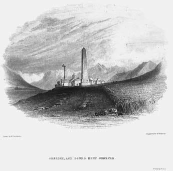 Monginevro. Incisione di Ja. Redaway su disegno di W. Brockedon (sec. XIX).