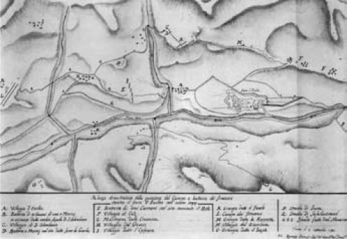 Posizione del Campo e delle batterie francesi contro il forte di Exilles nell'anno 1974. Disegno a penna e acquerello (sec. XVIII)