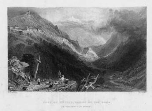 Veduta di Exilles. Incisione di C. Cousen su disegno di W. H. Bartlett (sec. XIX).