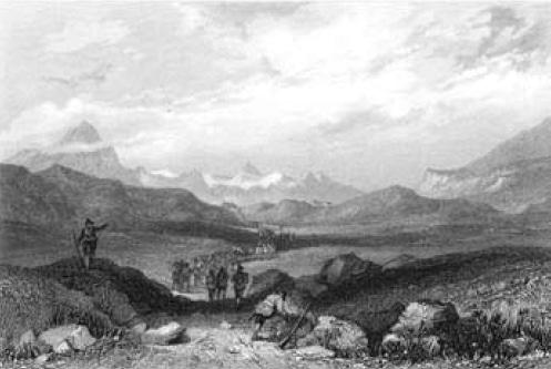 Piccolo Moncenisio. Incisione di R. Brandard su disegno di W.Brockedon (sec. XIX).