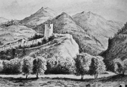 Oulx, Borgo Superiore, Torre Delfinale. Disegno di Clemente Rovere (sec. XIX)