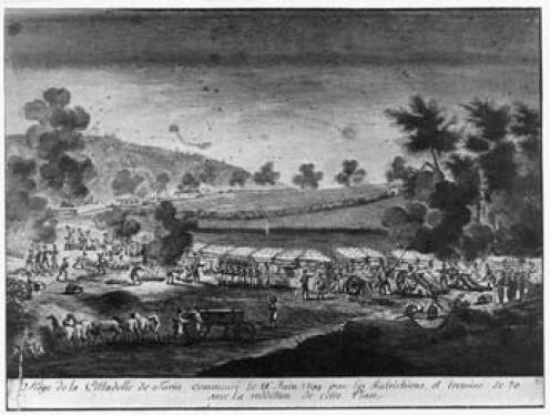 Assedio della Cittadella di Torino. Acquerello (sec. XIX).