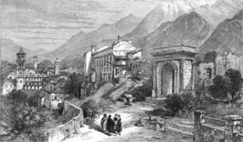Veduta di Susa con al centro il Castello e l'Arco. Incisione in legno di I.M. (sec. XIX).