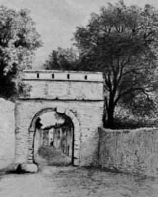 Oulx, Arco di ingresso. Disegno di Clemente Rovere (sec. XIX)