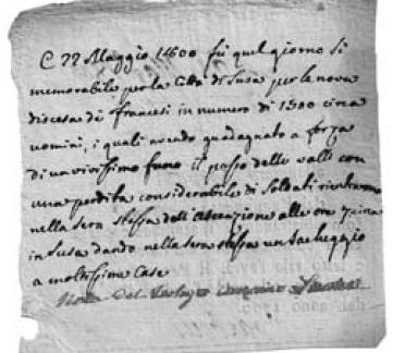 Testimonianza relativa alla riconquista di Susa da parte delle truppe Francesi (22 maggio 1800).