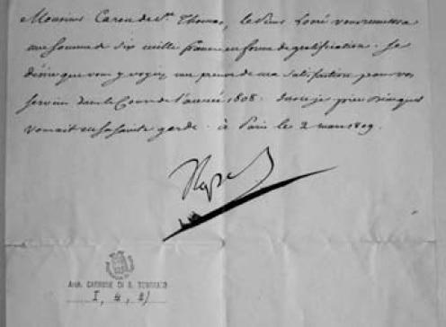 """Atto autografo del 2 marzo 1809 col quale Napoleone Bonaparte accorda una gratificazione di 6000 franchi. Documento conservato nella Biblioteca di Storia e Cultura del Piemonte """"G. Grosso"""" della Provincia di Torino."""