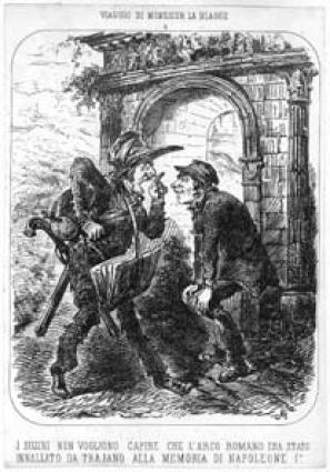 Vignetta satirica relativa al periodo del dominio Napoleonico (sec. XIX).