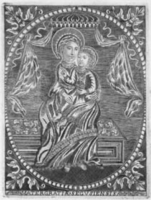 Madonna con Bambino. Incisione di Carlo Andrea Rana (sec. XVIII).