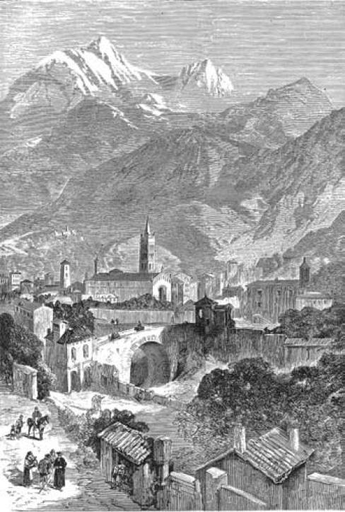 Veduta prospettica di Susa presa da nord-ovest. Incisione in legno di Anonimo (sec. XIX).