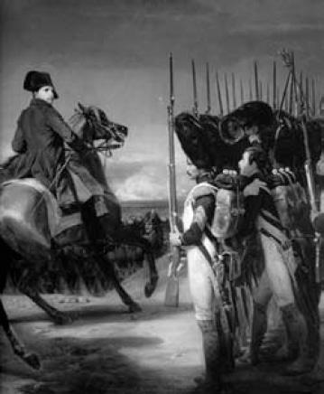 Napoleone passa in rassegna la Guardia alla battaglia di Jena, dipinto di Horace Vernet   (1789-1863)