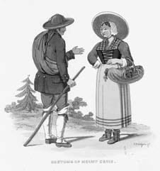 Costume del Moncenisio. Incisione di R. Bridgens (sec. XIX).