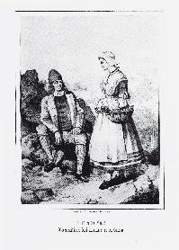 Contadini dei dintorni di Susa. Litografia di Doyen e C. su disegno di B. Giuliano (sec. XIX).