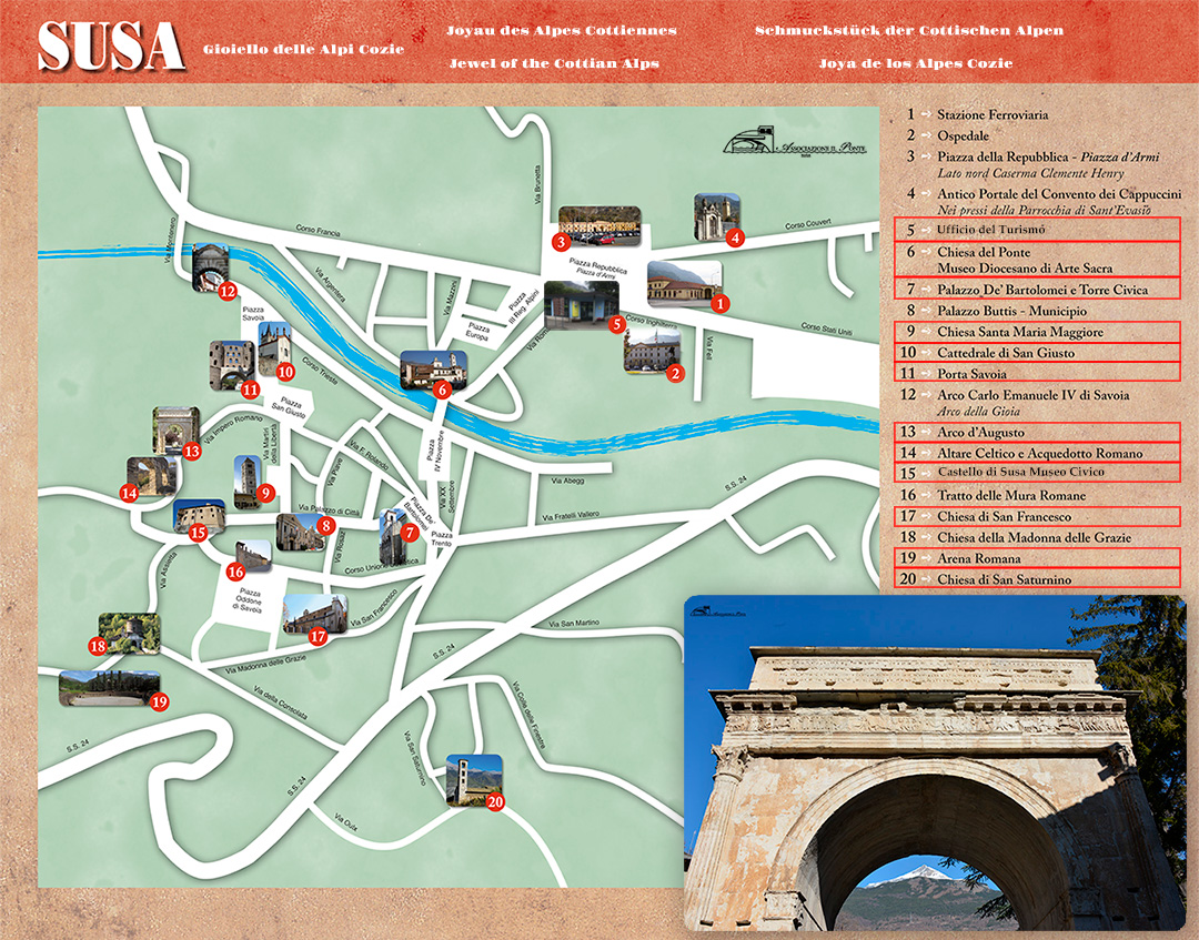 Cartina dei Monumenti di Susa